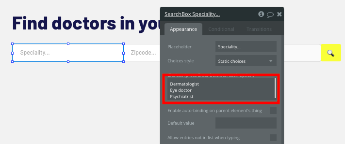 Bubble no code Zocdoc clone tutorial search bar configurations