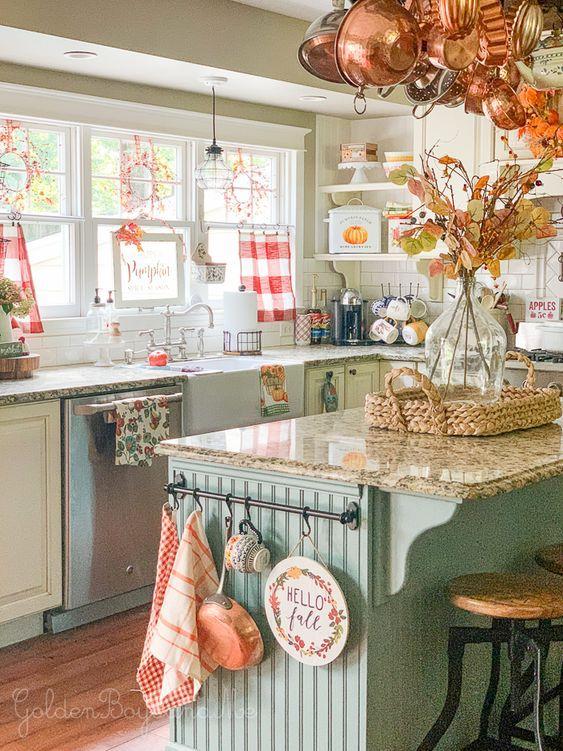 Famhhouse kitchen decor with fall decor.