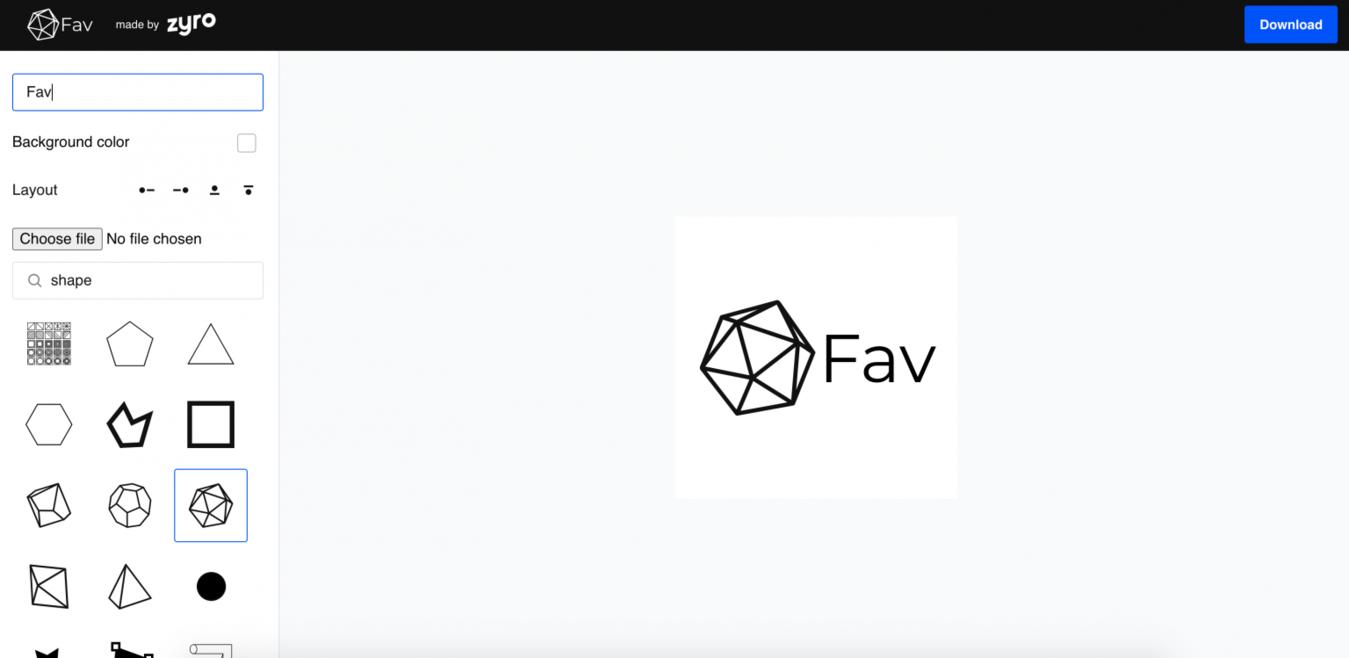 Favicon generator home screenshot Zyro