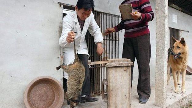 Мужчина с животным в руке