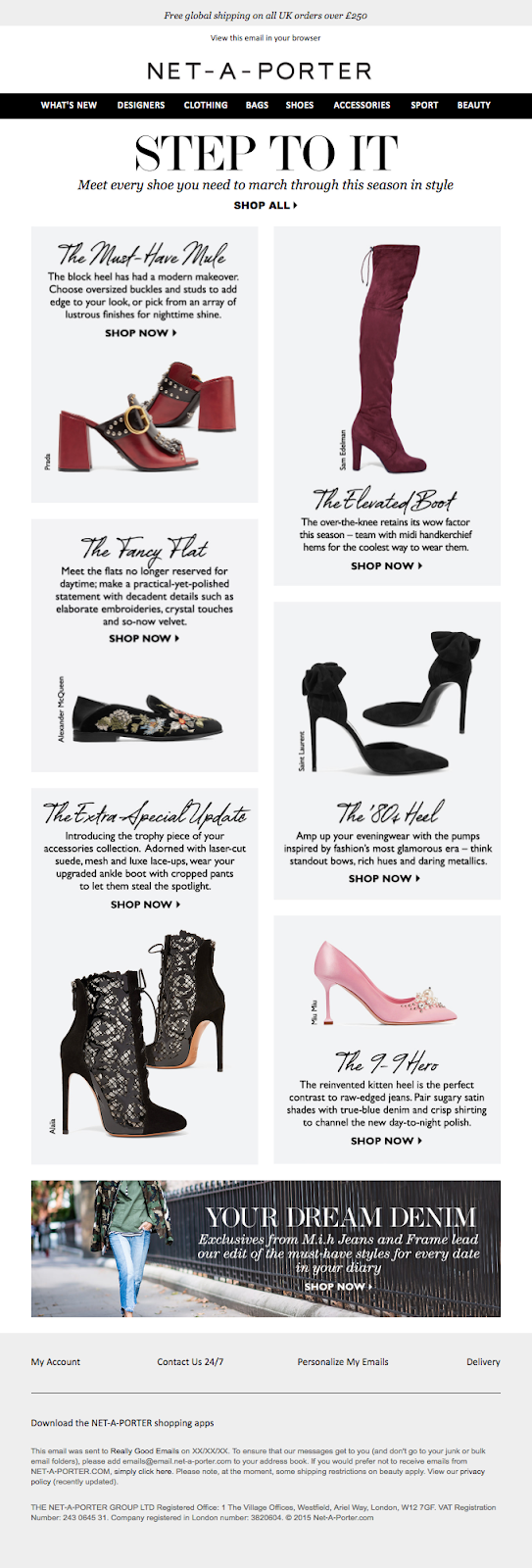 Another great reason to use web-fonts is that they help you create and portray a brand's online personality. Here's a great example from Net-A-Porter.