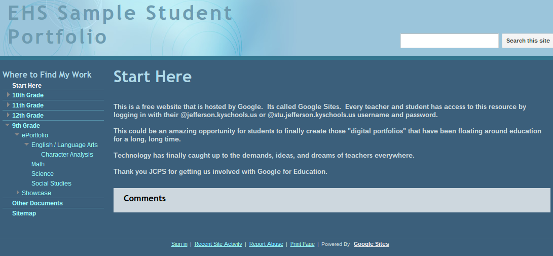 Student Portfolios with Google Sites – EHS Tech Integration Hub