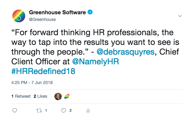 Tweet from Greenhouse Software mentioning the importance of people