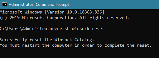 Winsock reset command