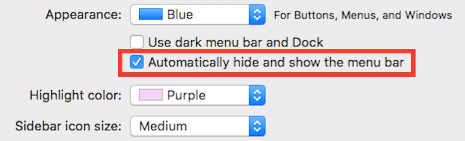hide or show the menu bar on Mac