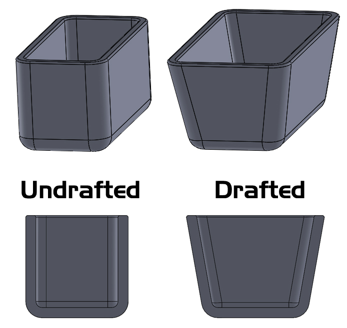 Drafted vs Undrafted Solidworks Surface Modeling
