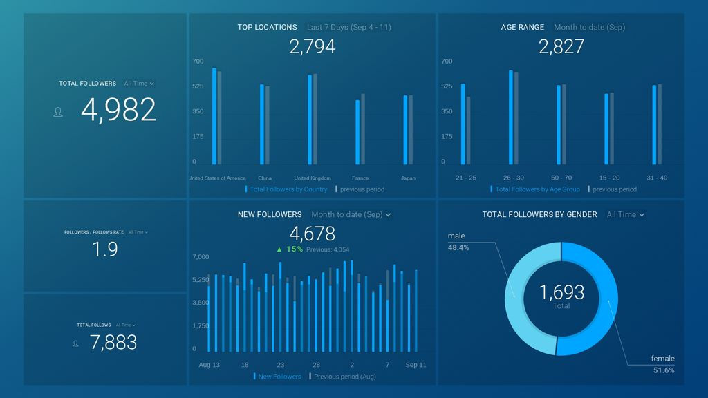 instagram business audience overview dashboard