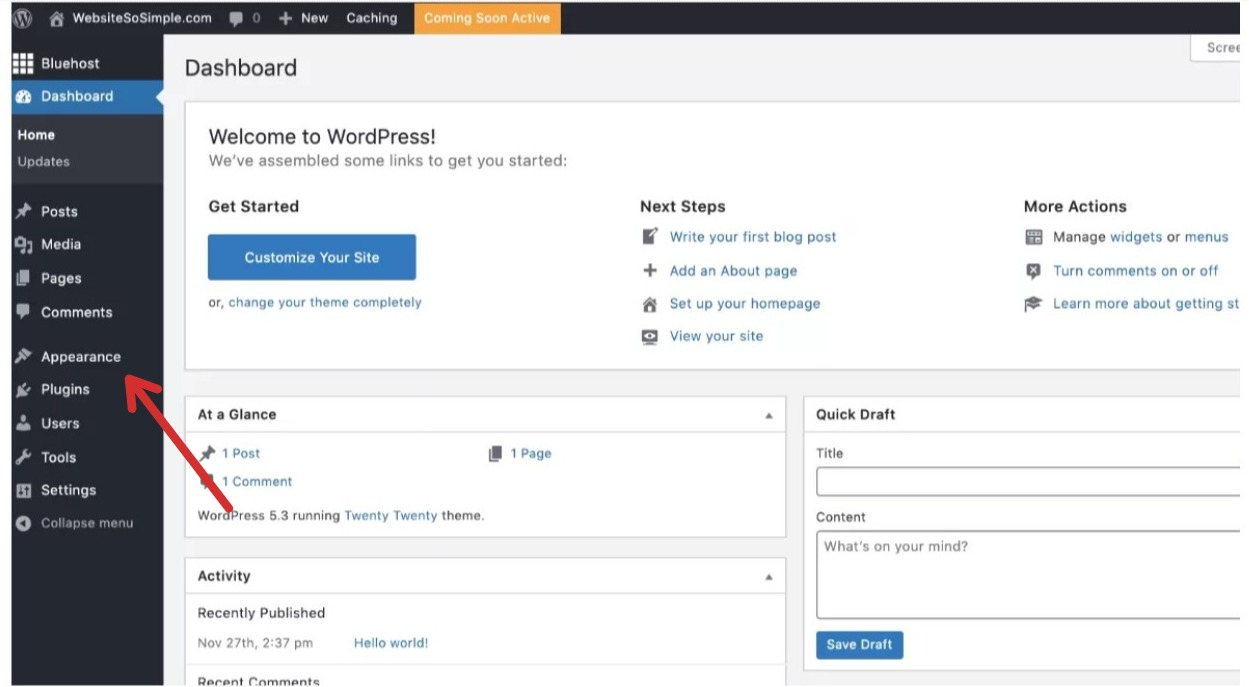 Go to WordPress Dashboard Appearance