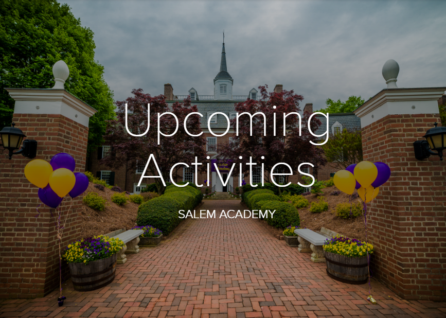 Upcoming Activities and Events (School Front)