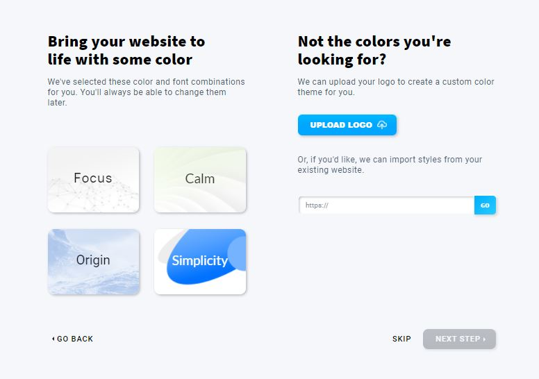 Choosing the website design theme.