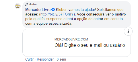 """Mercado Livre respondendo comentário de usuário do Facebook, dizendo """"Kleber, vamos te ajudar! Solicitas que acesse o site. Você conseguirá ver o motivo pelo qual foi suspenso e terá a opção de entrar em contato com a equipe especializada""""."""