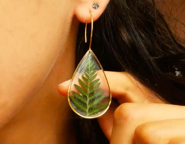 preessed leaf earring