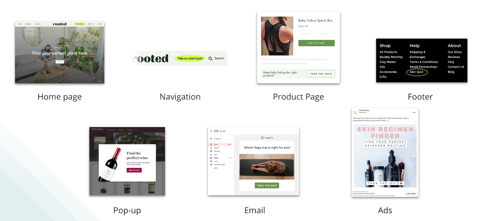 Examples of where to promote your ecommerce quiz