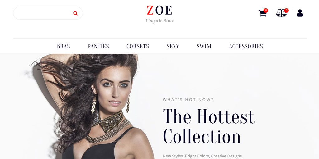 modelo de site zoe fashion para ecommerce