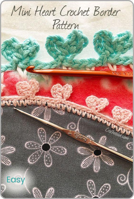 mini heart crochet border