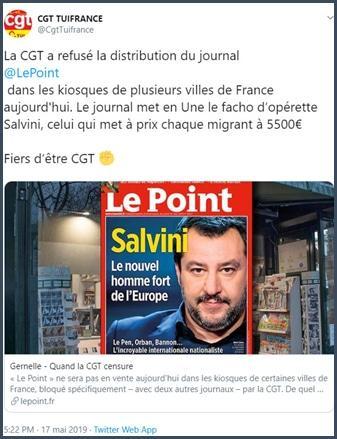 Tweet la CGT a refusé la distribution du journal Le Point dans les kiosques de plusieurs villes de France
