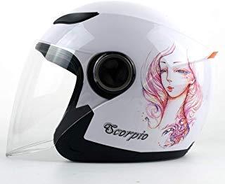 JiaoLiao Casco de Moto para Hombre Casco de Invierno para Mujer Four Seasons Casco Universal de constelación de Personalidad antiempañamiento (Color : Scorpio)