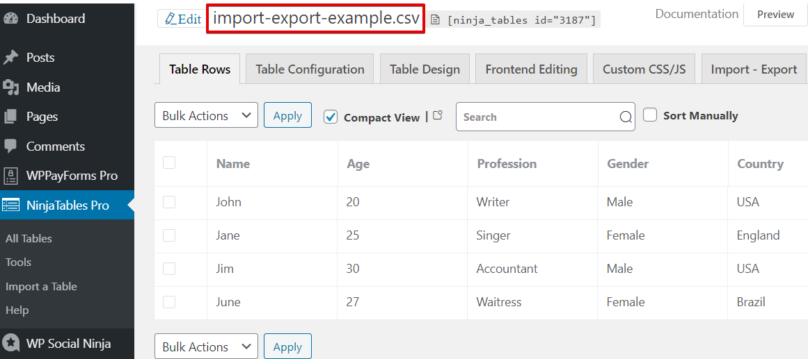 how to use CSV to create a data table with imported files