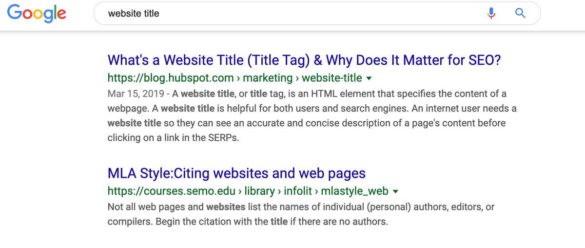 Title and meta description