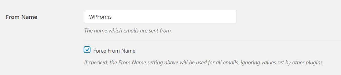 El nombre de remitente es el nombre asociado con los correos electrónicos enviados y se establece en el nombre de su sitio de forma predeterminada