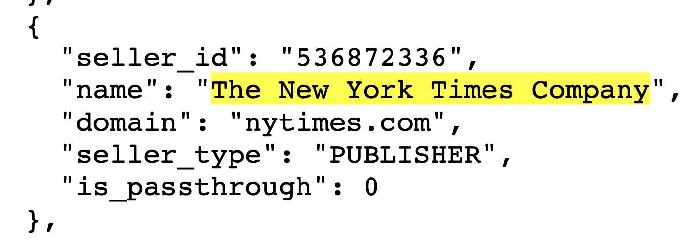 Screenshot of a seller.json file showing the nytimes.com seller ID