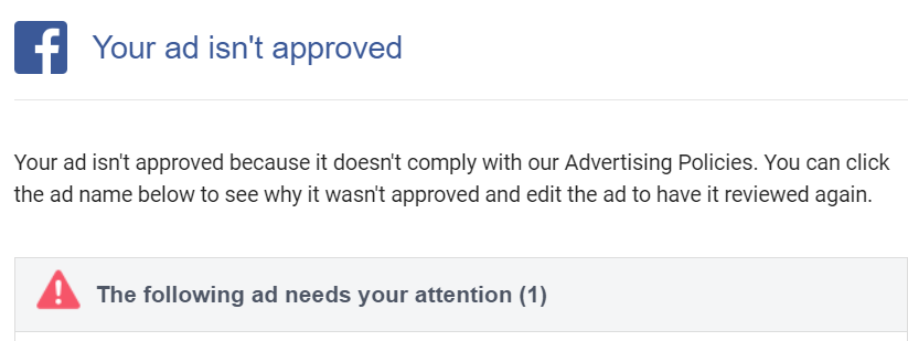 Your ad isn't approved in Facebook Ads Manager