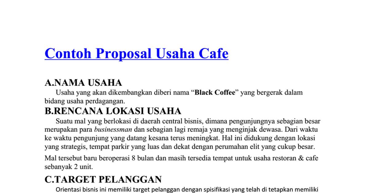 Contoh Proposal Usaha Cafe Docx Google Drive