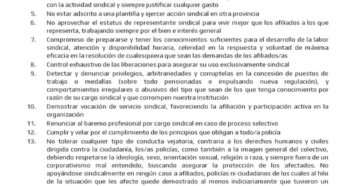 Código de honestidad de ARP para el representante sindical policial