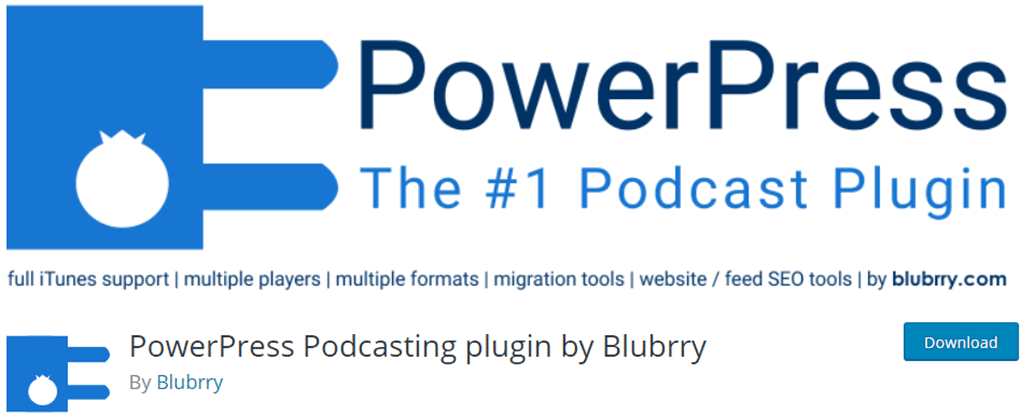 plugin powerpress podcasting by blubrry de player de audio para wordpress