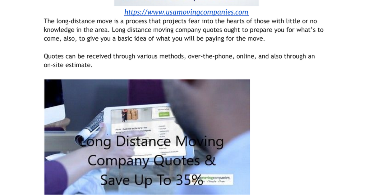 Moving Company Quotes >> Long Distance Moving Company Quotes Pdf Google Drive