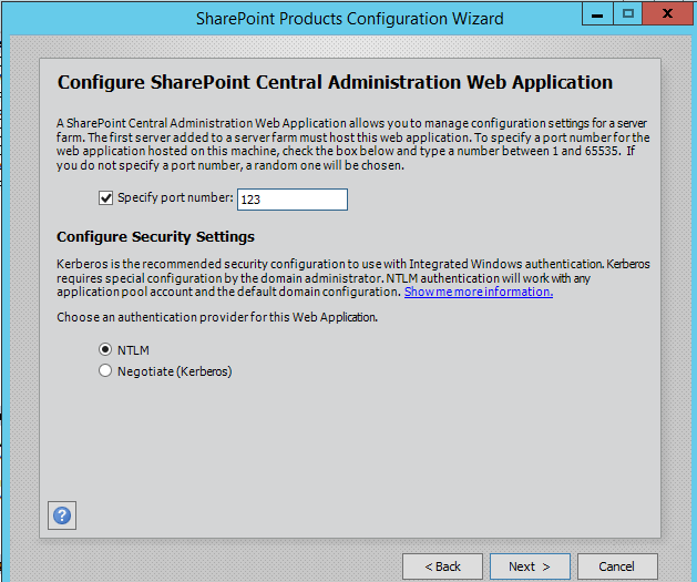 Configure SharePoint Central Administration Web Application