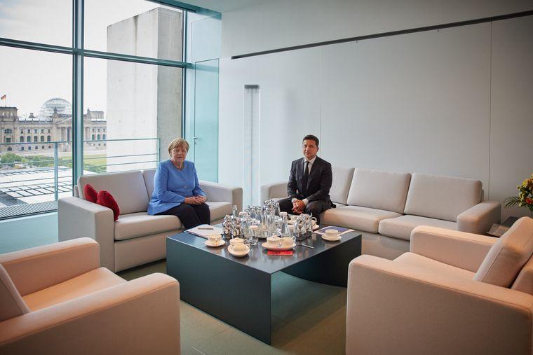 Встреча президента Украины Владимира Зеленского и канцлера Германии Ангелы Меркель во время визита Зеленского в Германию, 11 июля 2021 года