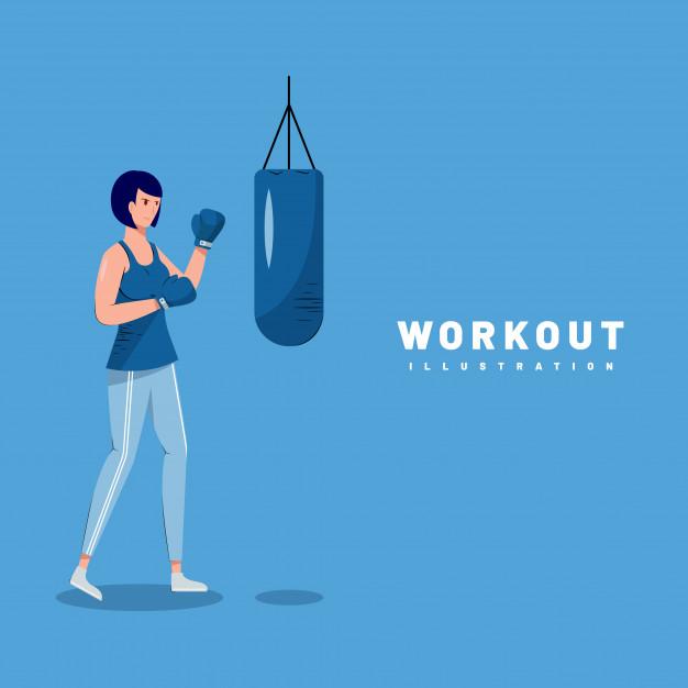 女性 ボクシング サンドバッグ workout illustration