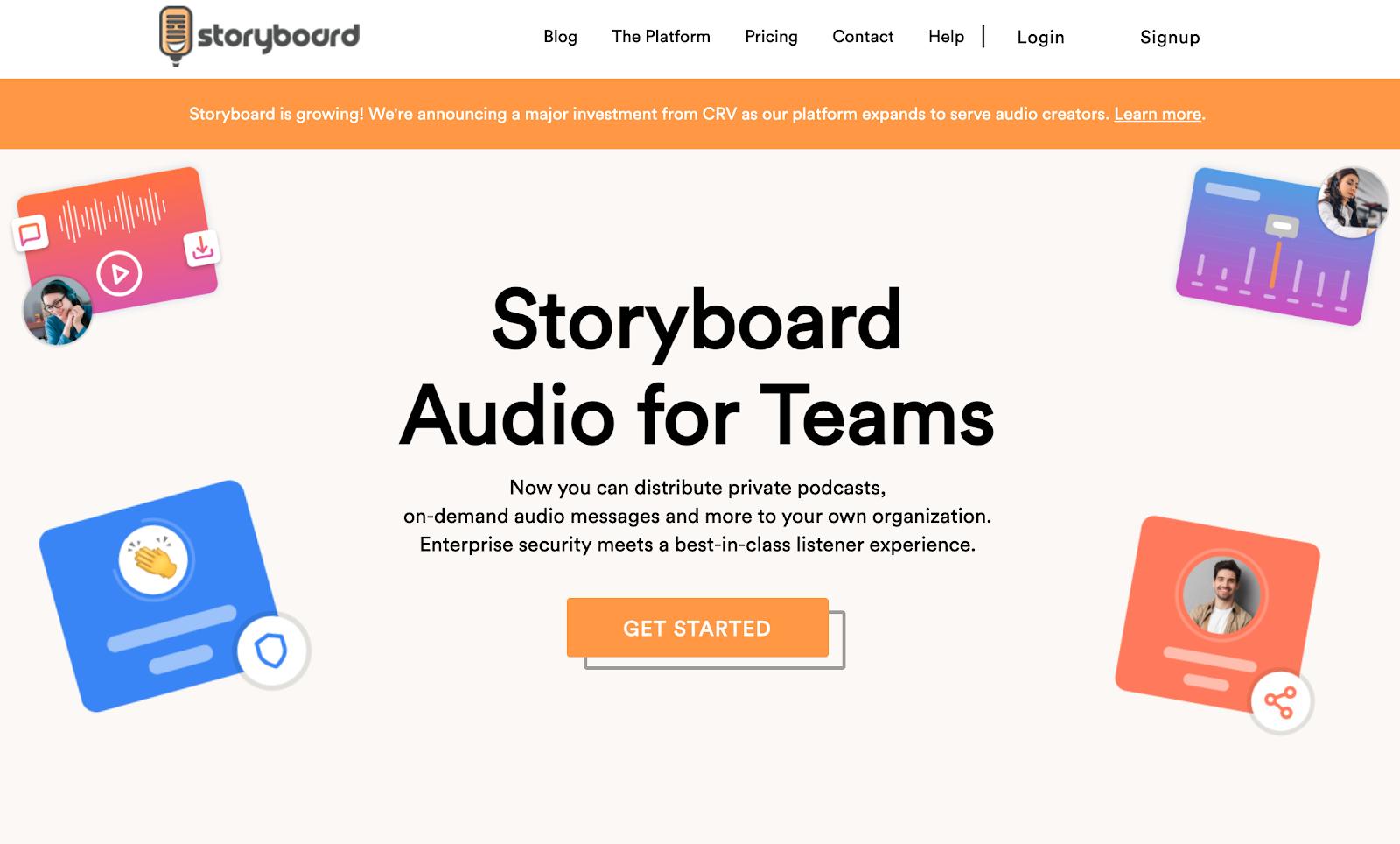 Storyboard landing page