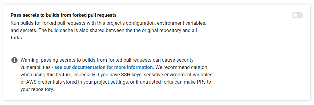 CI/CD pipeline security: don't pass secrets to forks