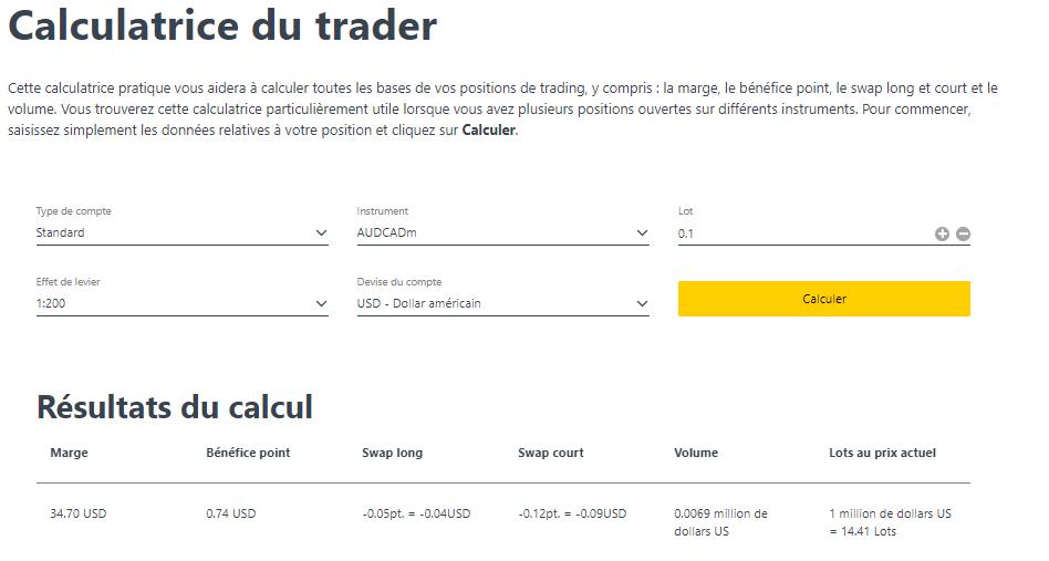 Calculatrice trader