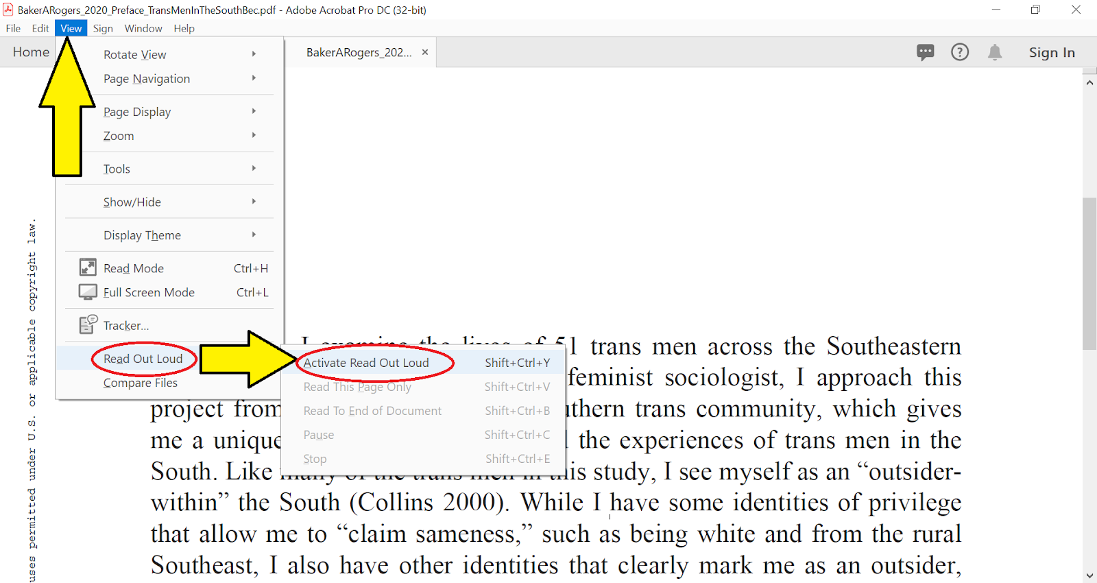 Screenshot of Activating Read Out Loud in Adobe Acrobat DC.