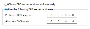 Google DNS option for a network