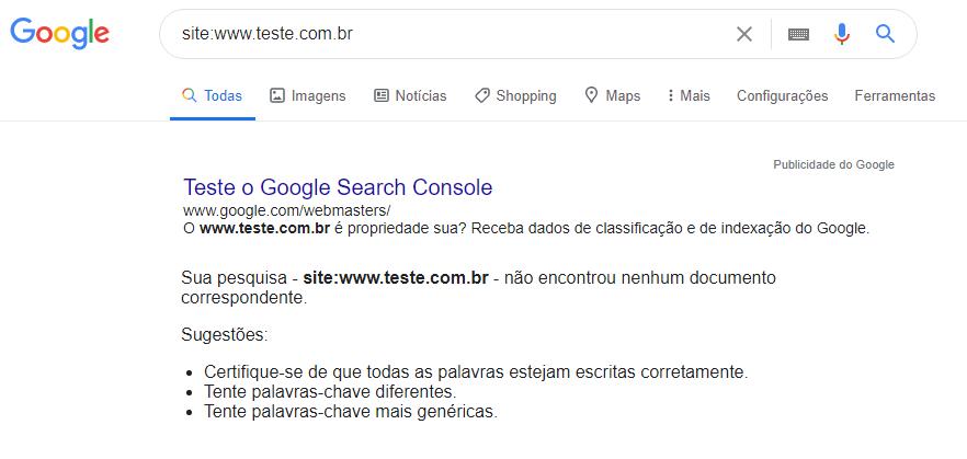 Tela de pesquisa do Google de site não indexado
