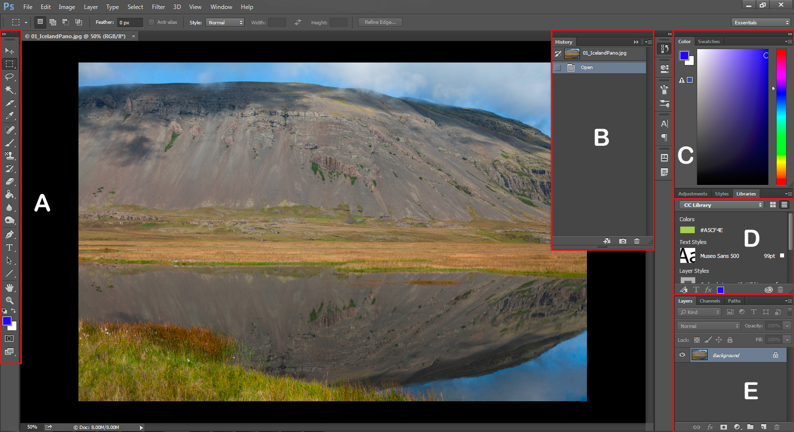 A first look at the Photoshop workspace