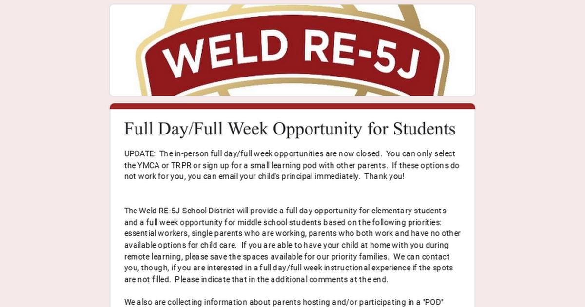 Full Day/Full Week Opportunity for Students 1