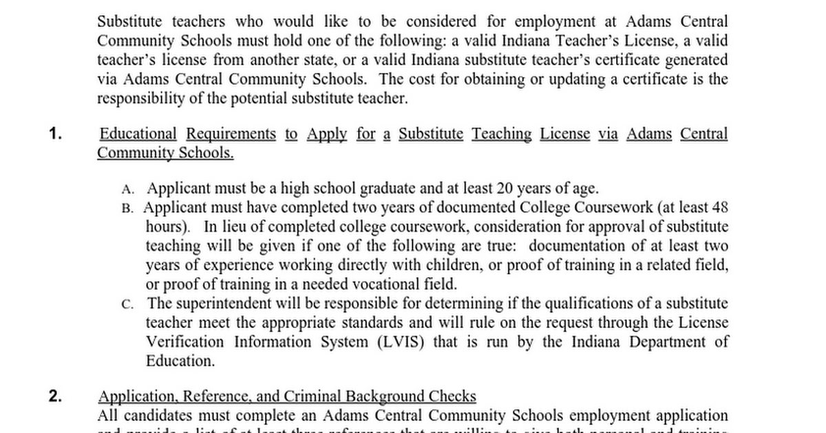 Section 3080 Substitute Teacher Certificate Google Docs