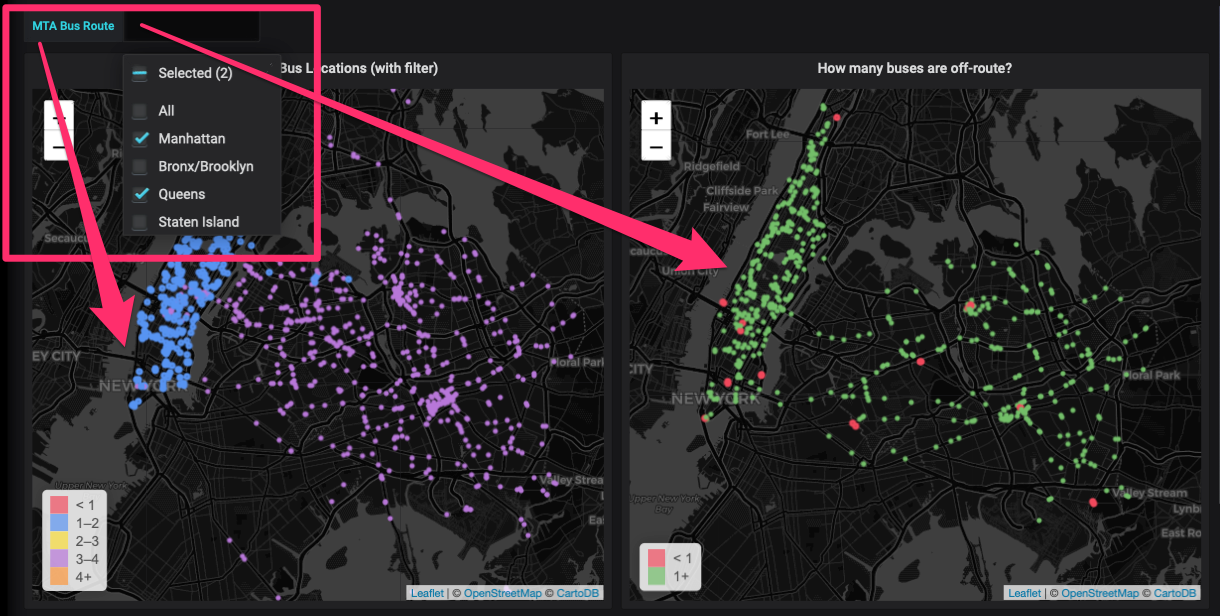 Two side-by-side NYC maps, showing a Grafana drop-down menu to illustrate how visualizations change as you select options.
