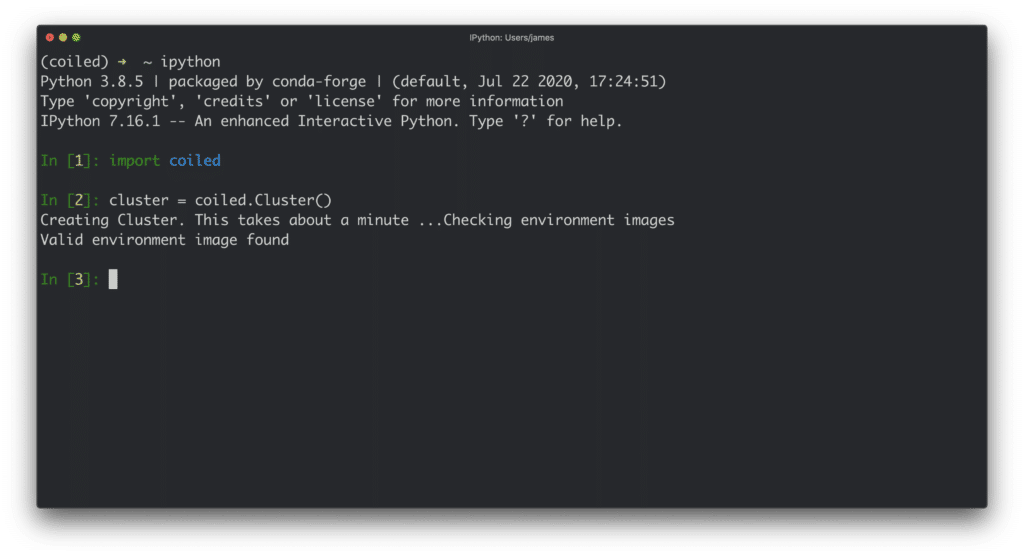 Coiled runs from anywhere you can run Python, including other web services, automated jobs, and even your own laptop.