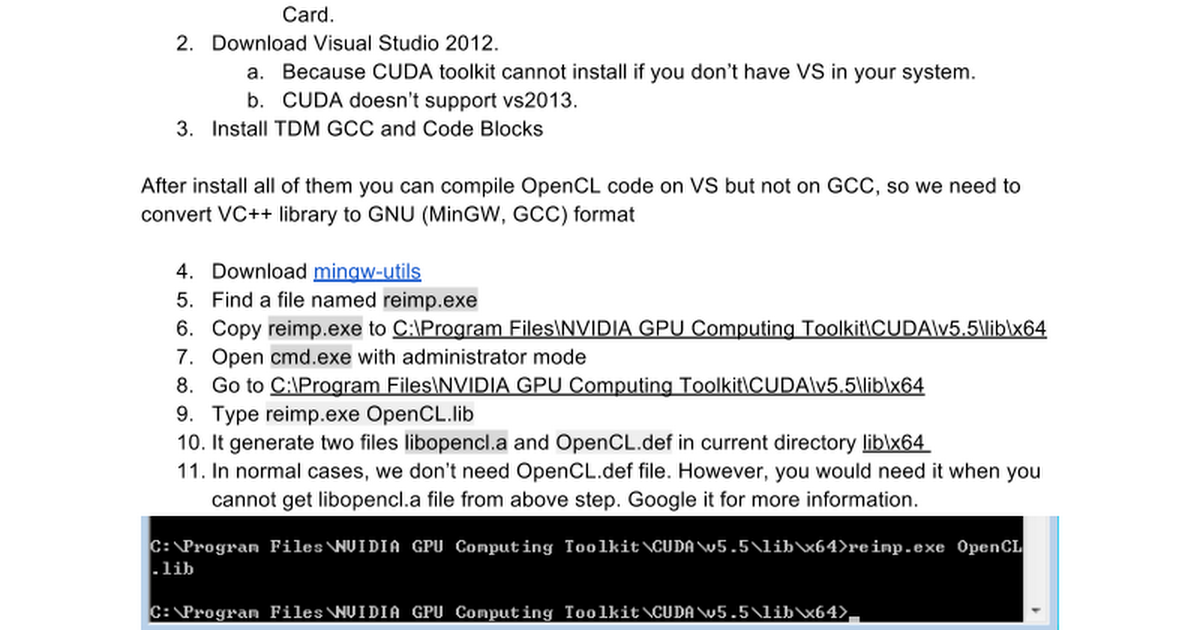 Install OpenCL on MinGW and Code Blocks - Google Docs