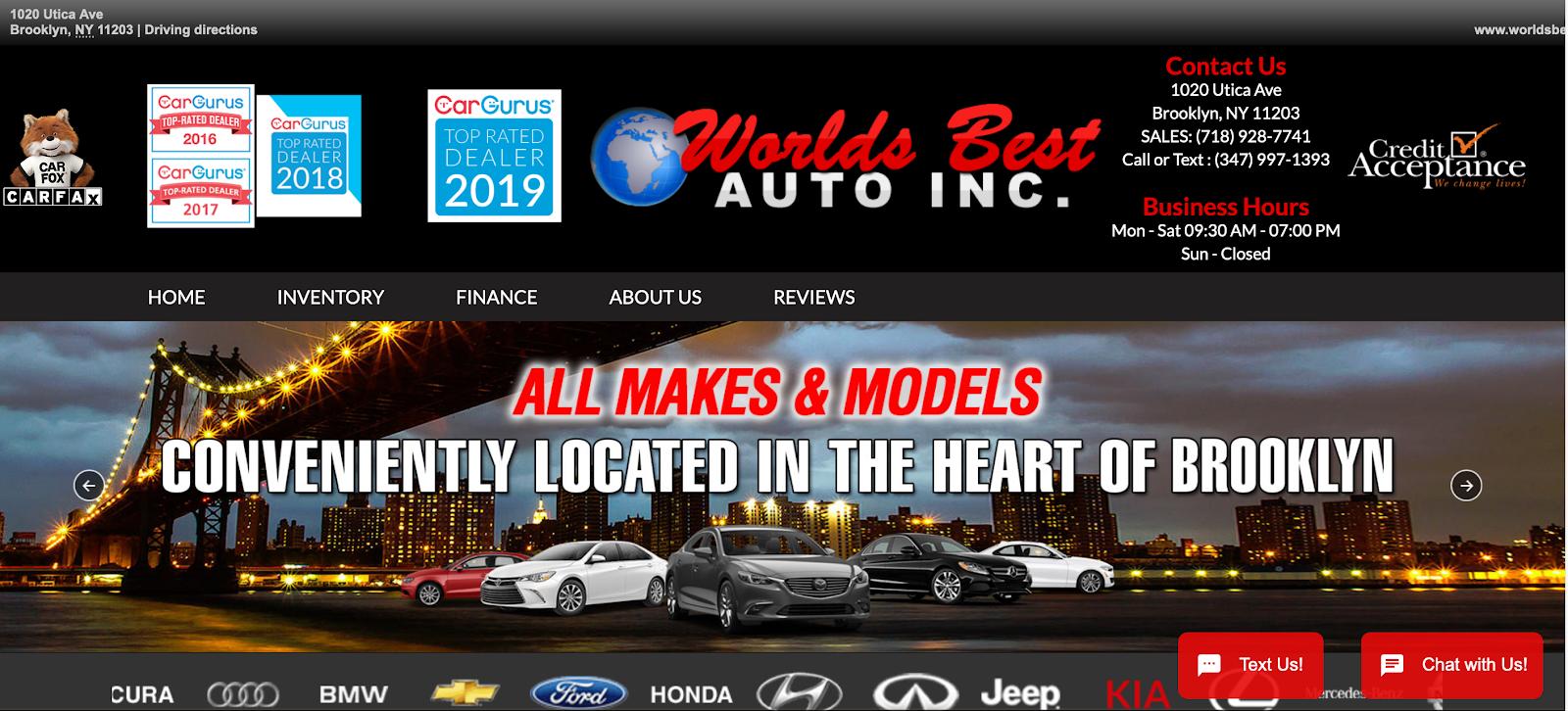 Screenshot of World's Best Auto Inc. homepage