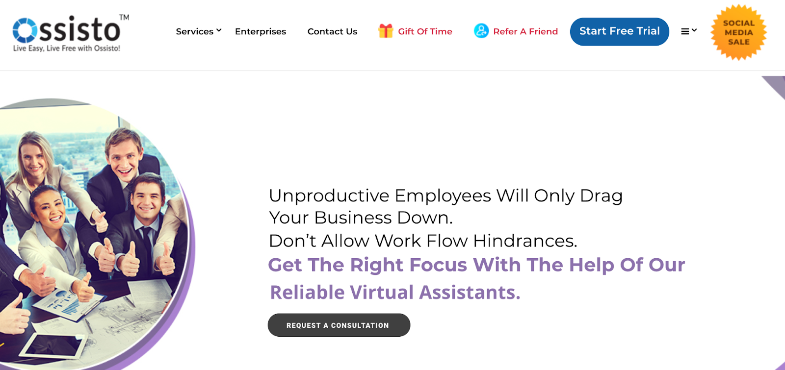 Ossisto website – outsourcing company in India