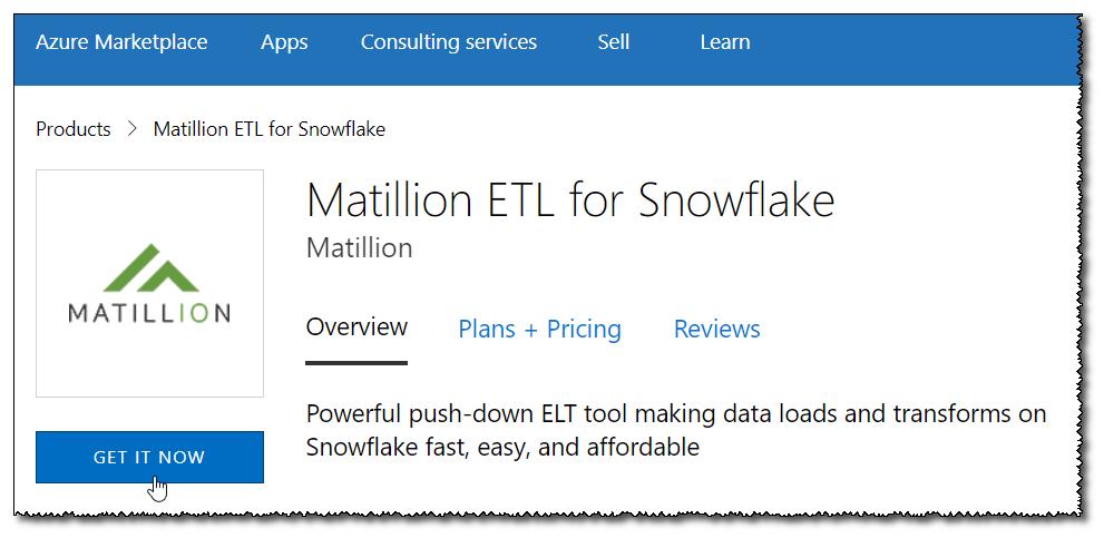 Launching Matillion ETL for Snowflake - Azure
