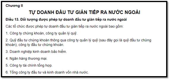 pháp luật về Tổ chức tự doanh của Việt Nam mua cổ phiếu nước ngoài