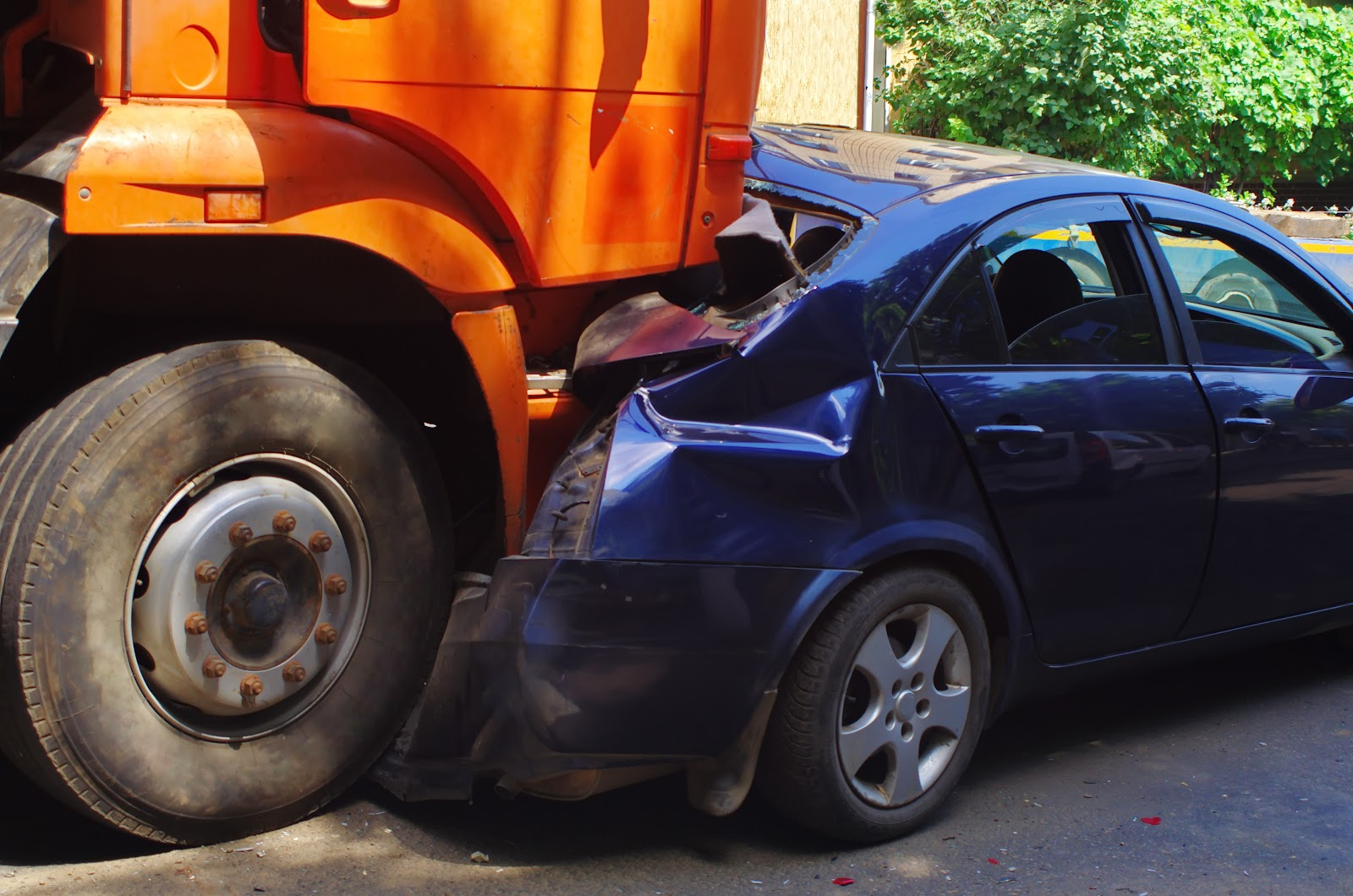 Truck and automobile accident